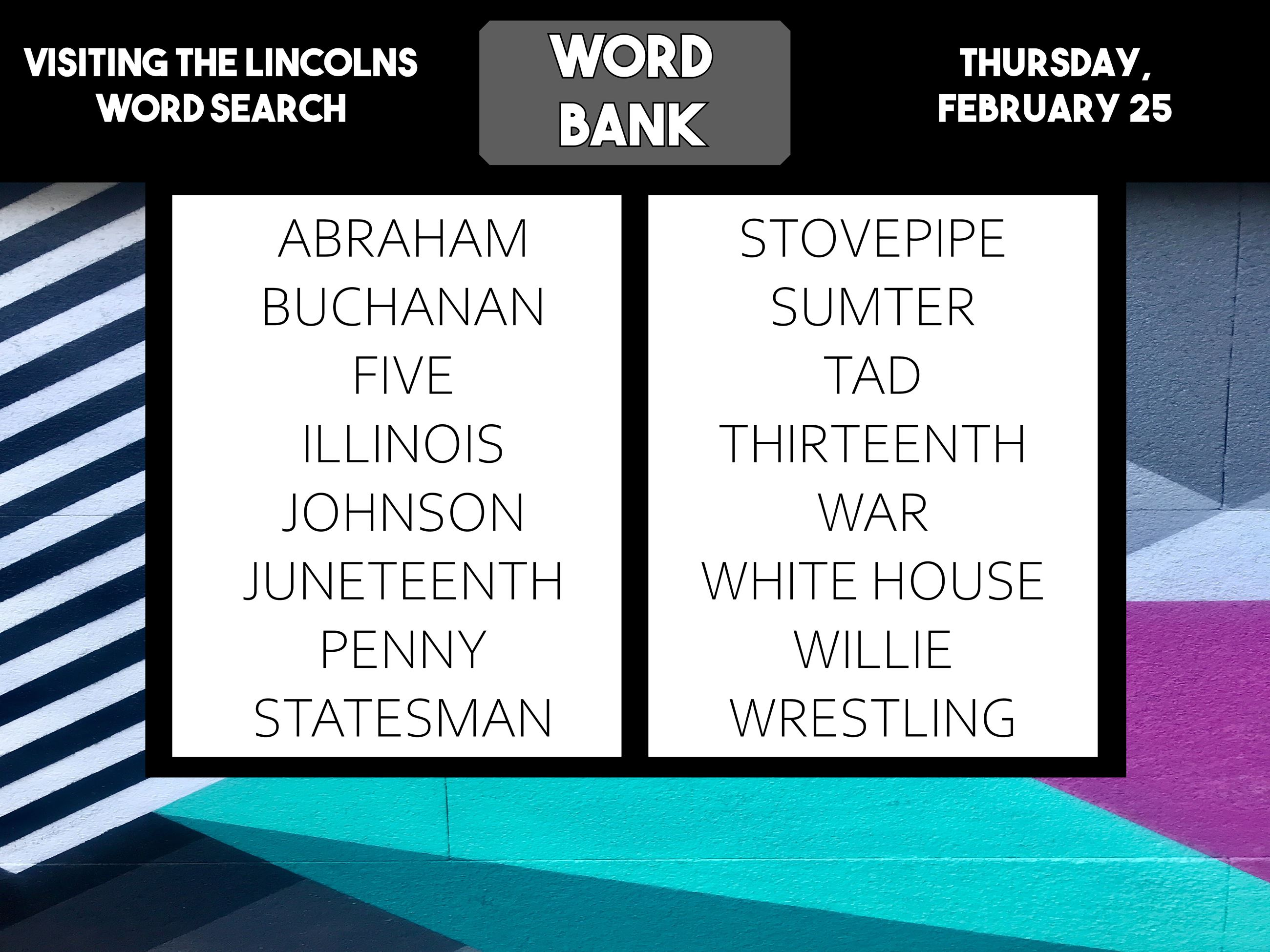 Word search lincolns word bank