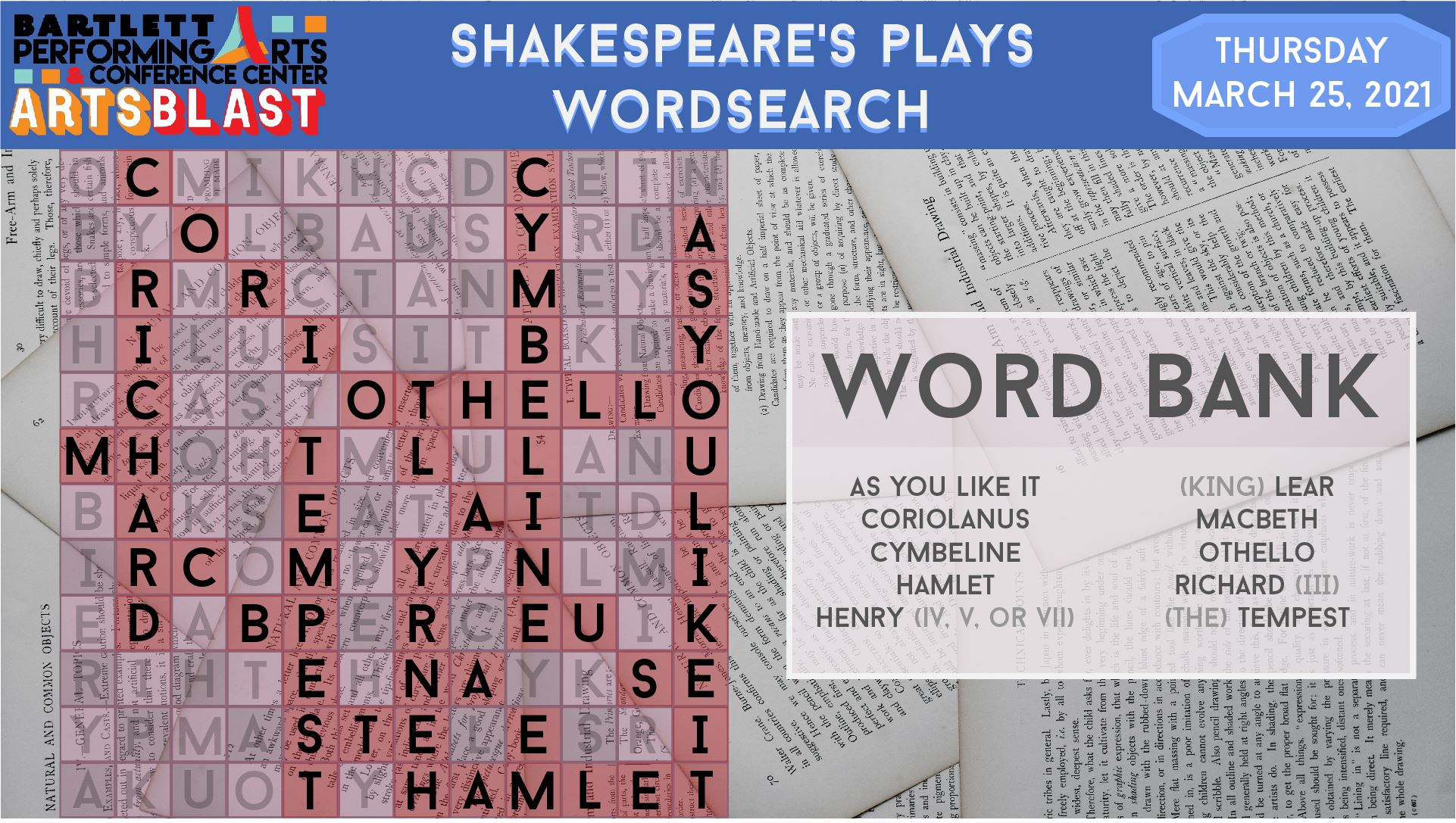 Shakespeare Word search ANSWERS